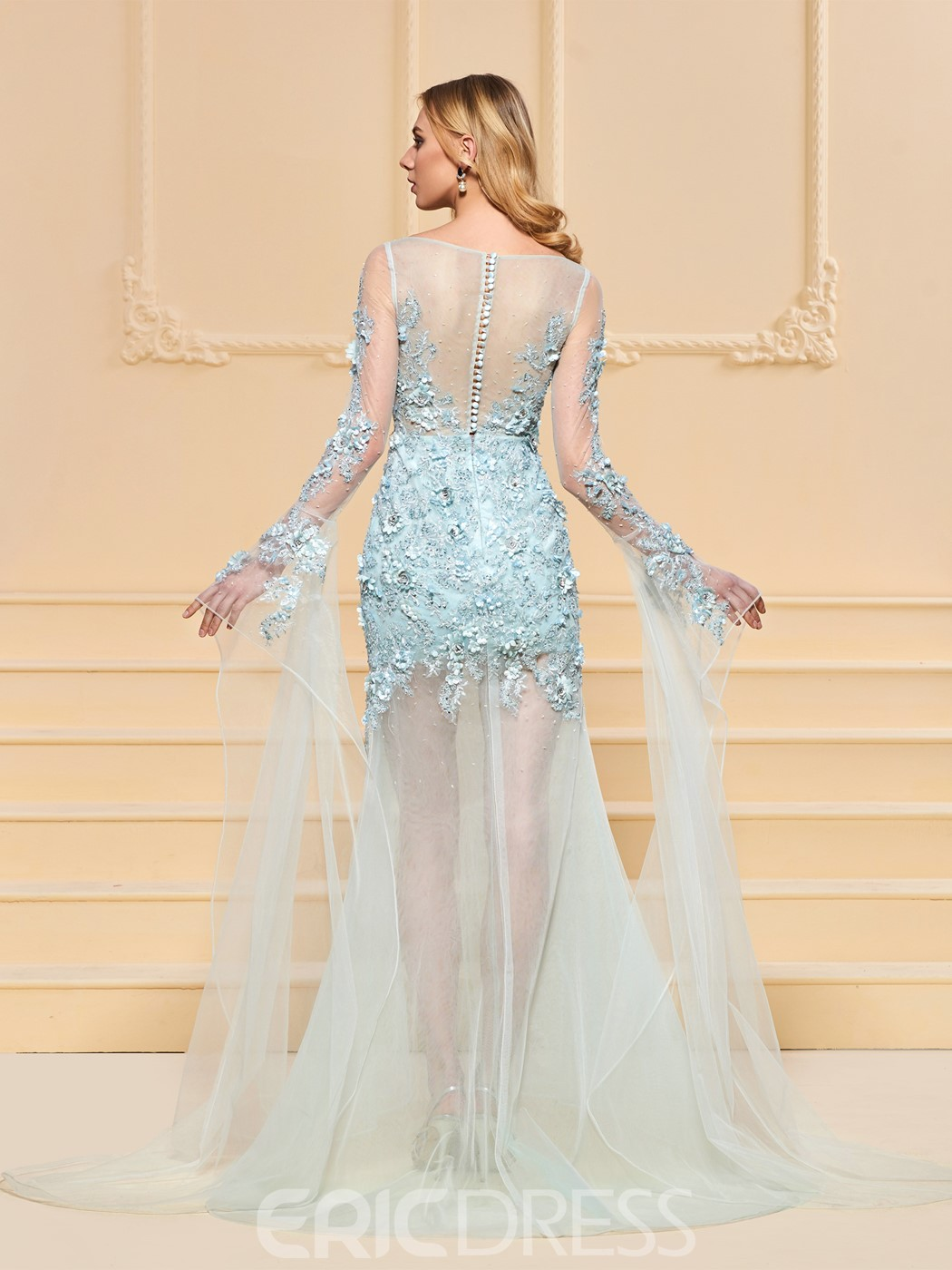 Ericdress Sheath Long Sleeve Short Prom Dress With Applique