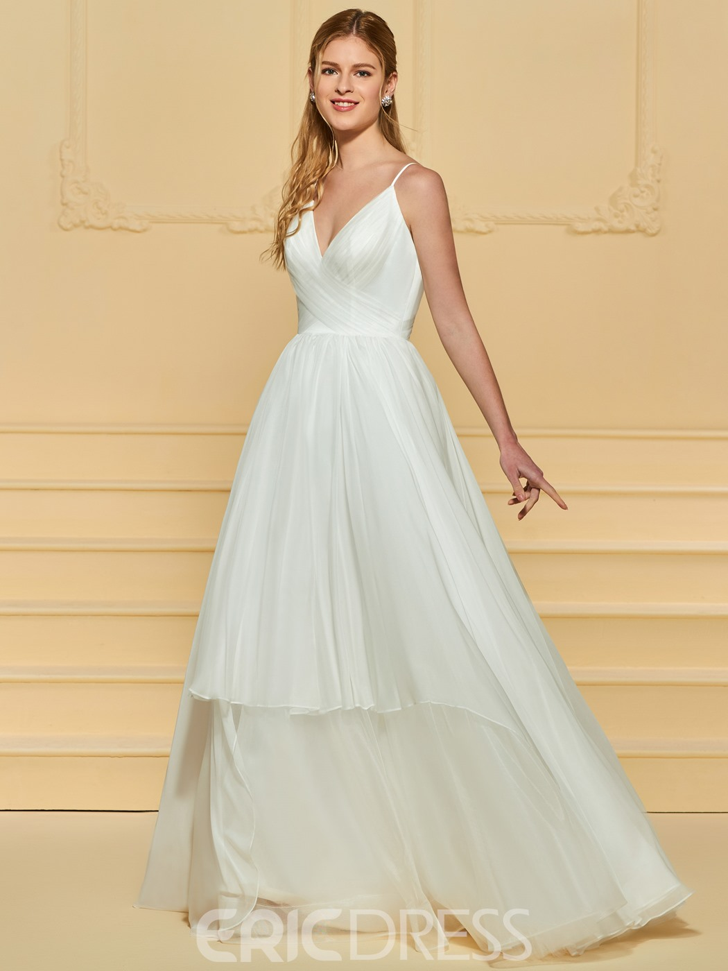 Ericdress Spaghetti Straps A Line Wedding Dress