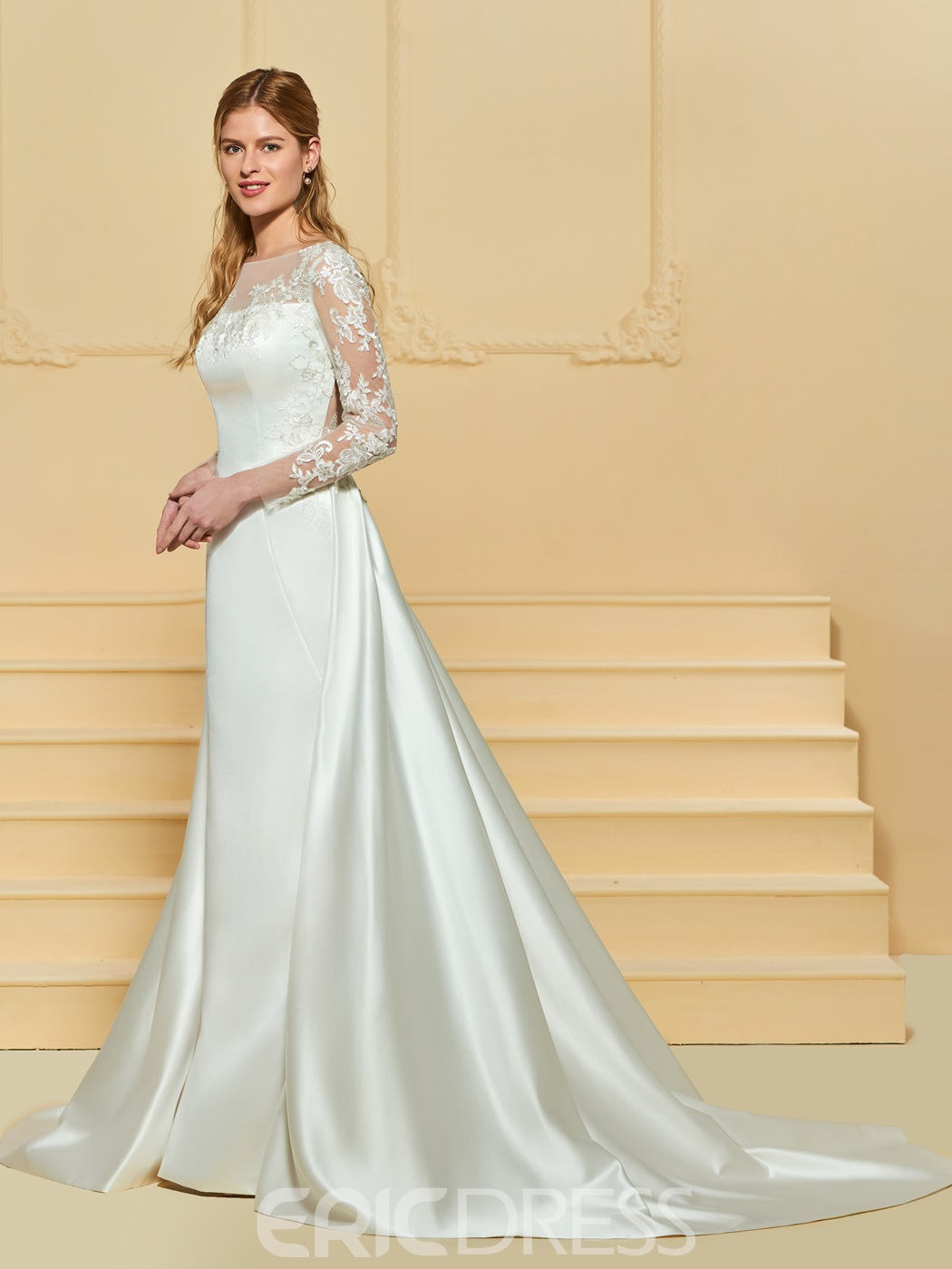 Ericdress Long Sleeves A Line Matte Satin Wedding Dress