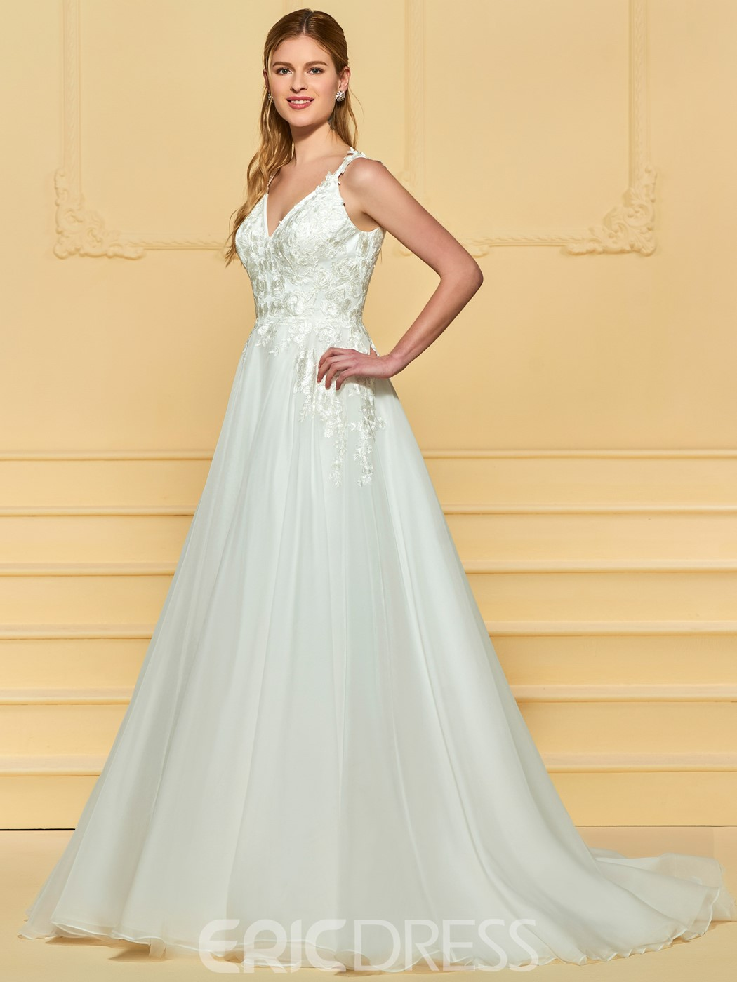 Ericdress A Line Appliques V Neck Tulle Wedding Dress