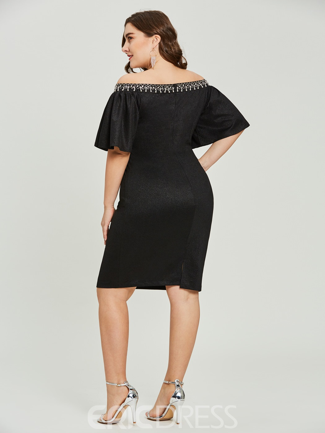 Ericdress Sheath Off-the-Shoulder Beaded Short Cocktail Dress