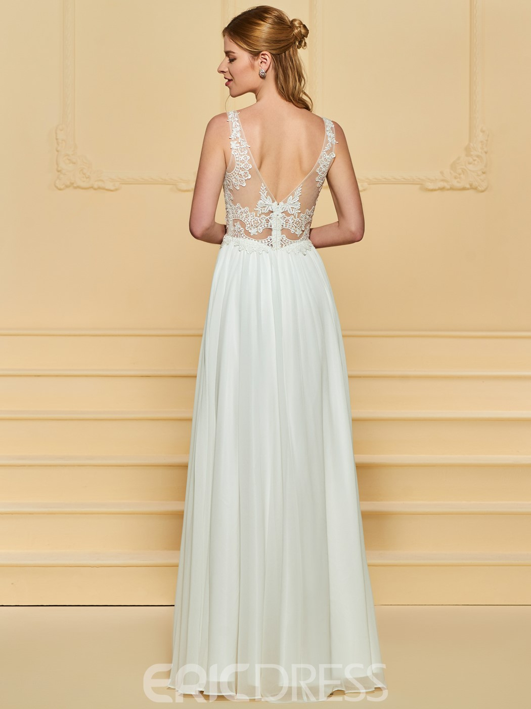 Ericdress A Line Backless Beach Wedding Dress