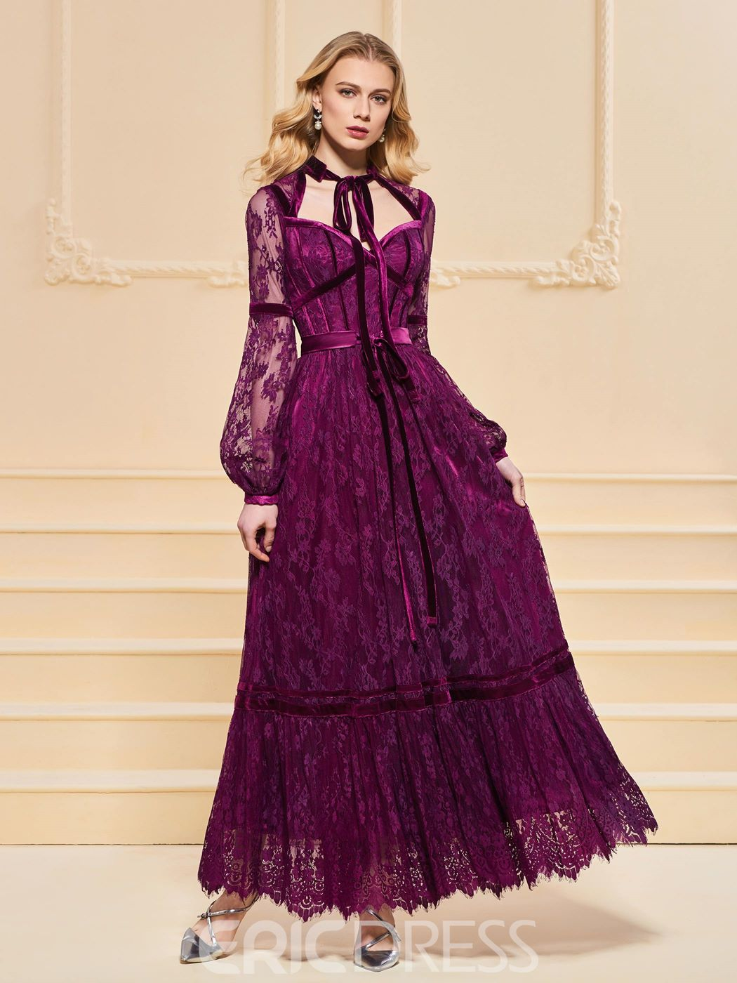 Ericdress A Line Long Sleeve Lace Vintage Prom Dress In Ankle Length