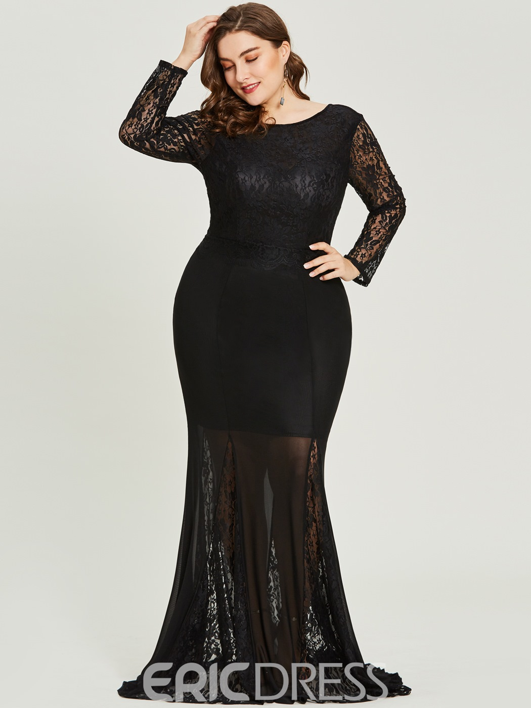 Ericdress Plus Size Scoop Neck Long Sleeves Mermaid Prom Dress