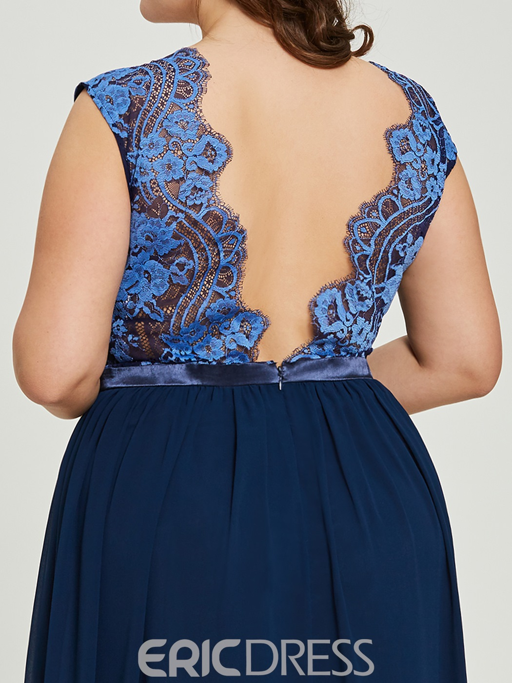 Ericdress V Neck Backless Lace A Line Long Evening Dress