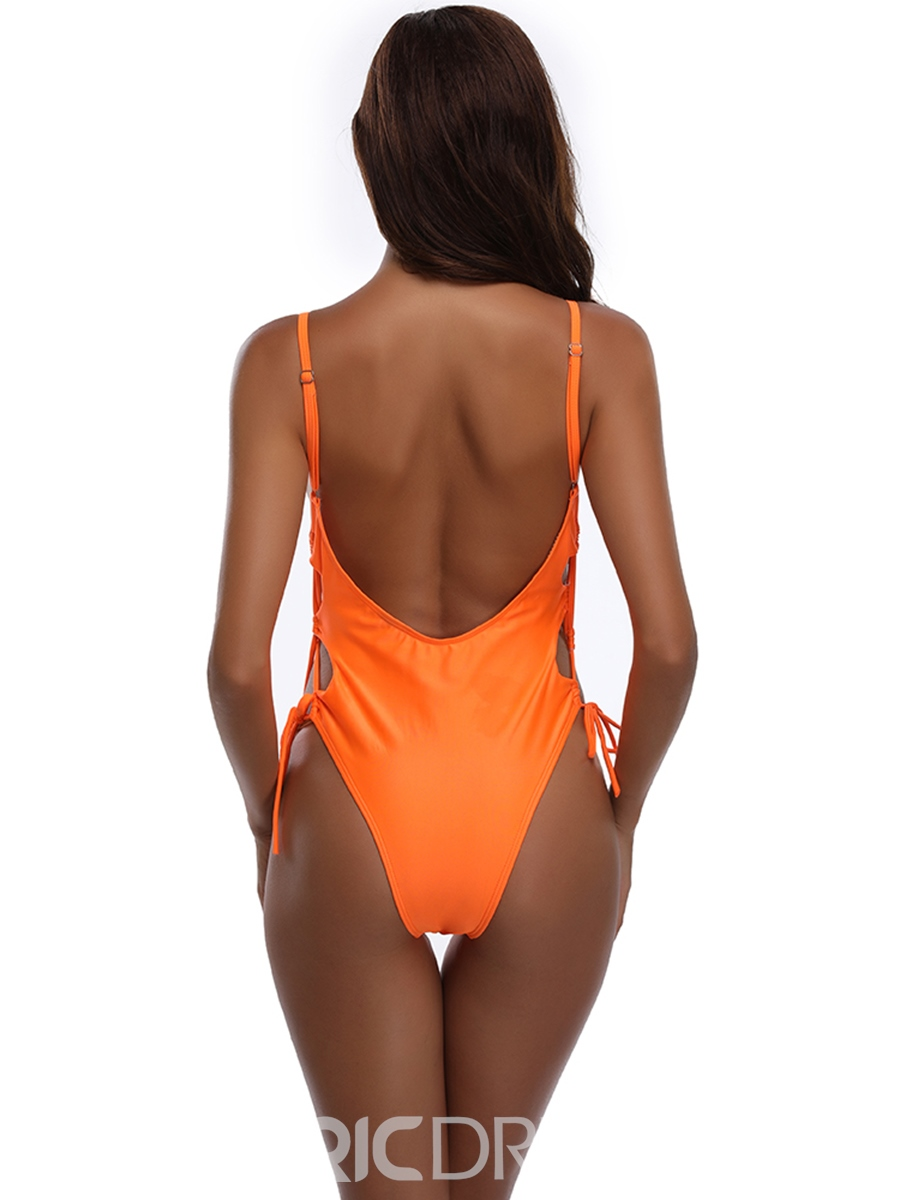 Ericdress Plain Side Hollow Lace-Up One Piece Swimwear Monokini