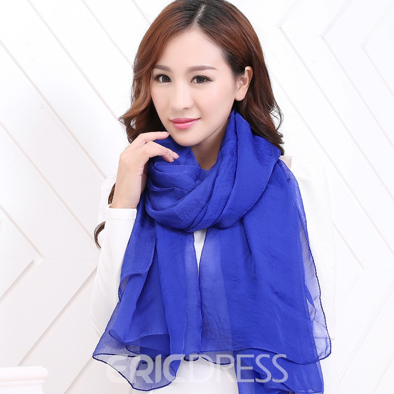 Ericdress All Match Pure Color Chiffon Scarf