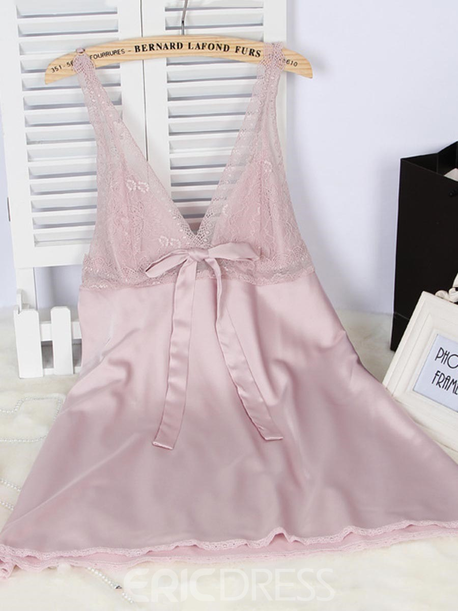 Ericdress V-Neck Bowknot Single Above Knee Nightgown