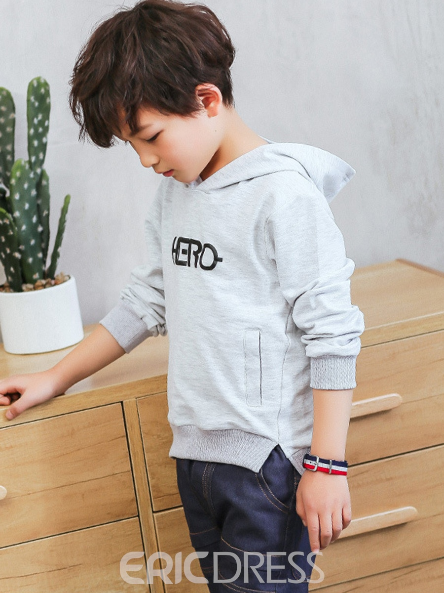 Ericdress Letter Print Boy's Cotton Hooded Outerwear