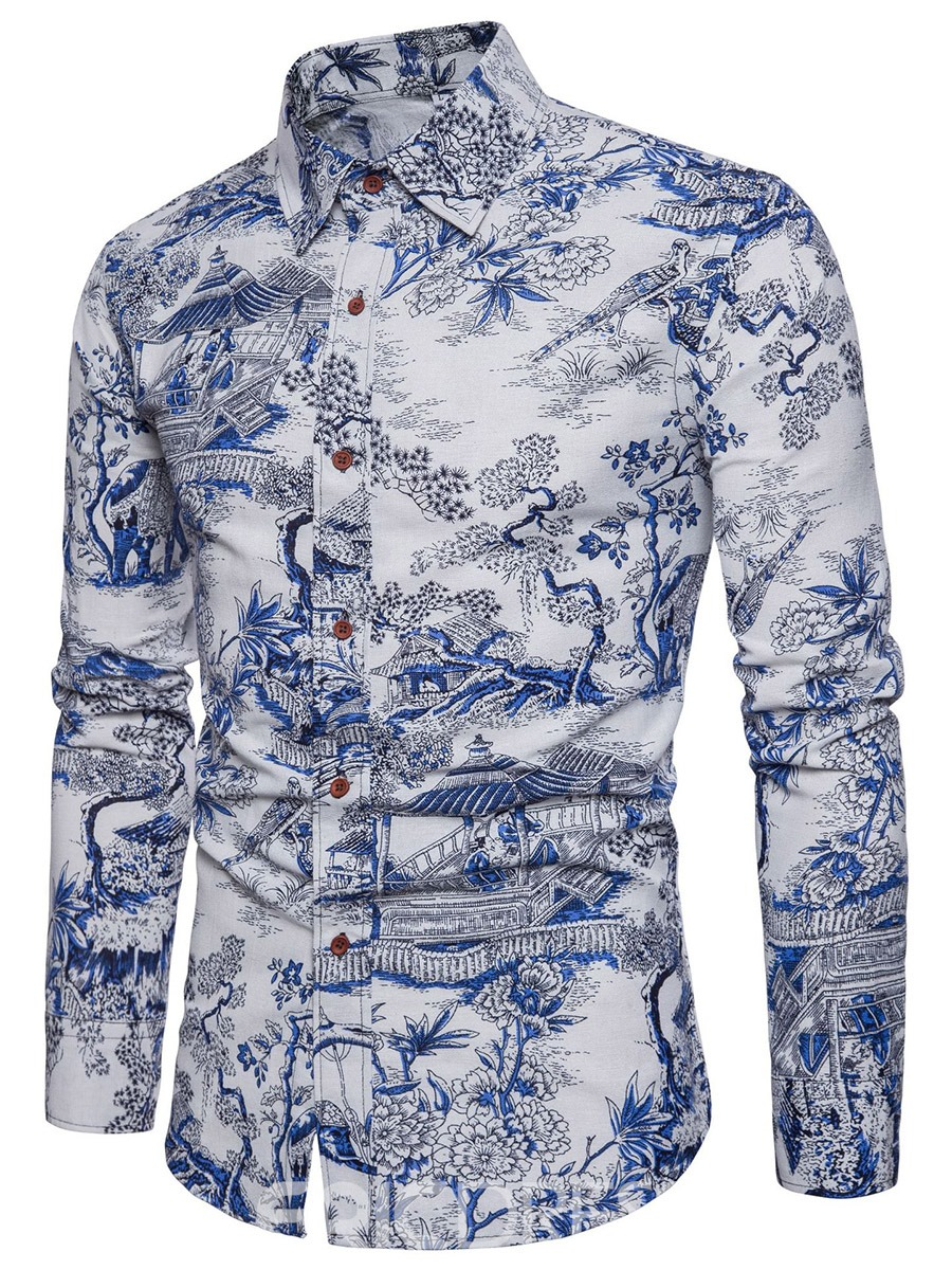 Ericdress Blue Floral Print Patchwork Slim Fit Mens Casual Shirts