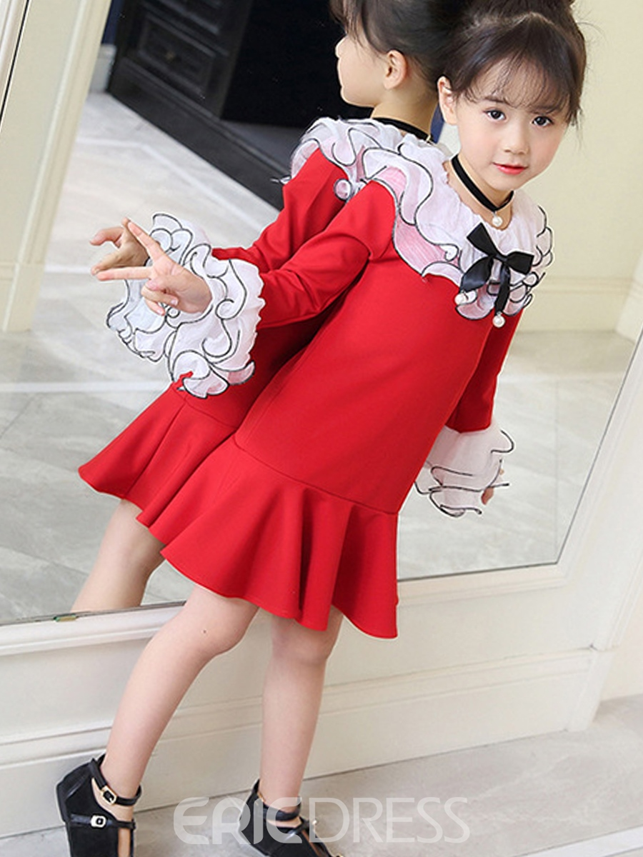 Ericdress Ruffles Flare Sleeve Girl's Pleated Princess Dress