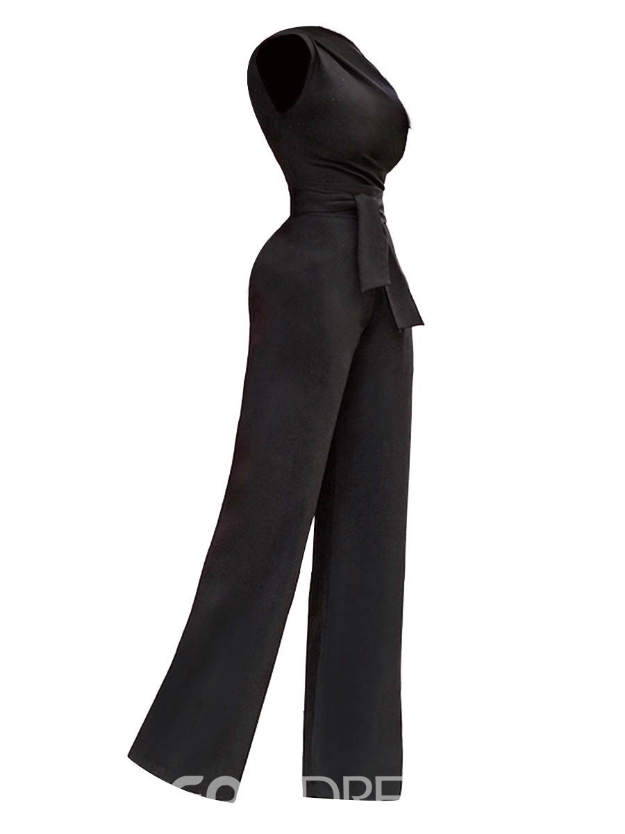 Women's Clothing Slim Plain Asymmetric Lace-Up Jumpsuit