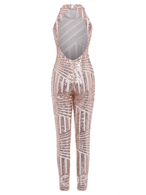 Ericdress Backless Sequins Plain Jumpsuit