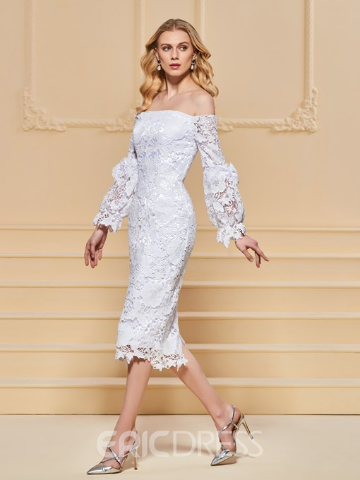 Ericdress Sheath Off The Shoulder Long Sleeve Lace Cocktail Dress