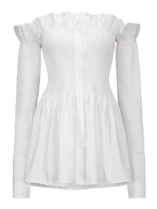 Ericdress Off Shoulder Ruffles Pleated Blouse