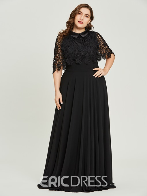 Ericdress Scoop Neck Short Sleeves A Line Black Evening Dress