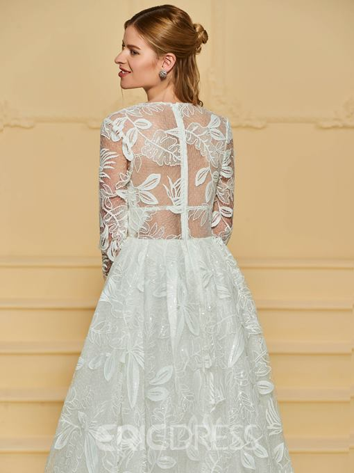 Ericdress Long Sleeves V Neck A Line Lace Wedding Dress