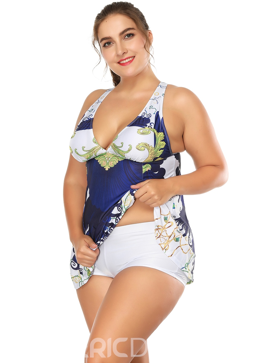 Ericdress Plus Size Cross Back Print Tankini Set