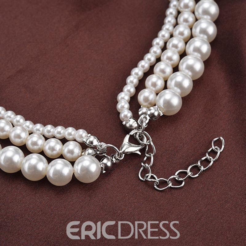 Ericdress Long Imitation Pearl Multilayer Necklace for Women