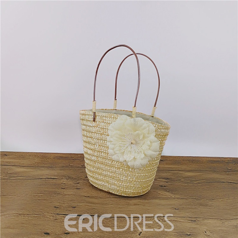 Ericdress Concise Floral Decoration Women Straw Bag