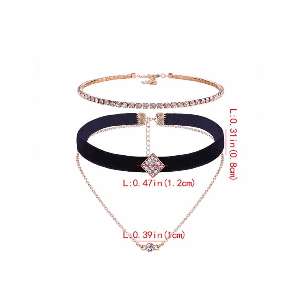 Ericdress Chic Diamante Multilayer Choker Necklace
