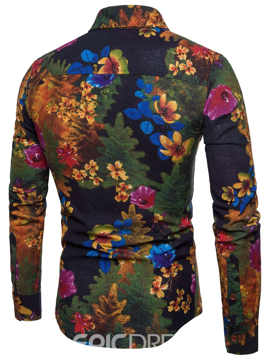 Ericdress Floral Printed Slim Fit Button Up Mens Casual Shirts