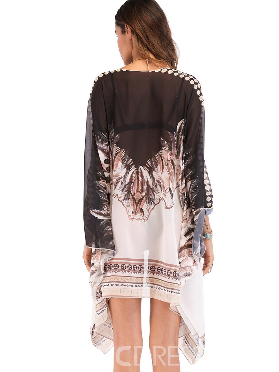 Ericdress Bohemian Chiffon Mid-Length Beach Cover Ups