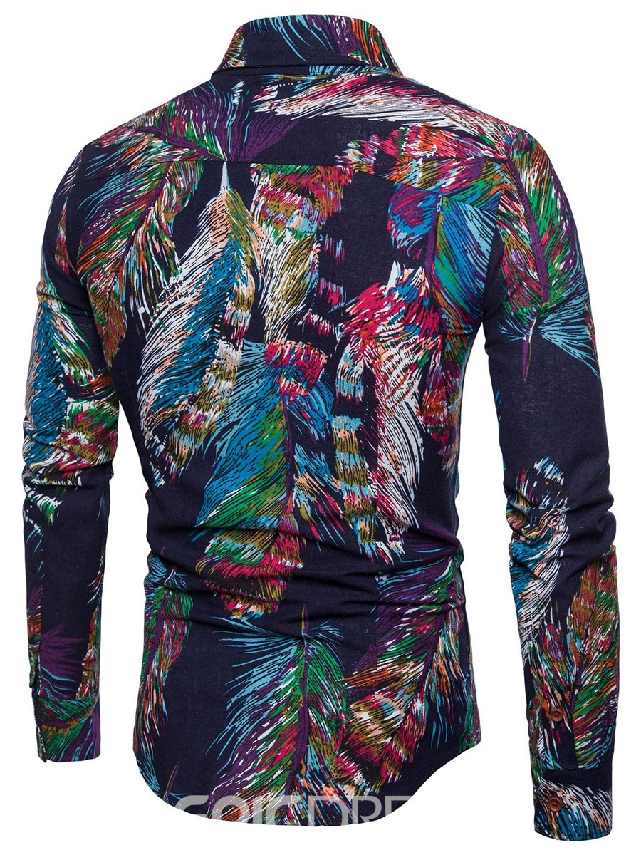 Ericdress Colorful Feather Print Men's Slim Fit Lapel Shirt