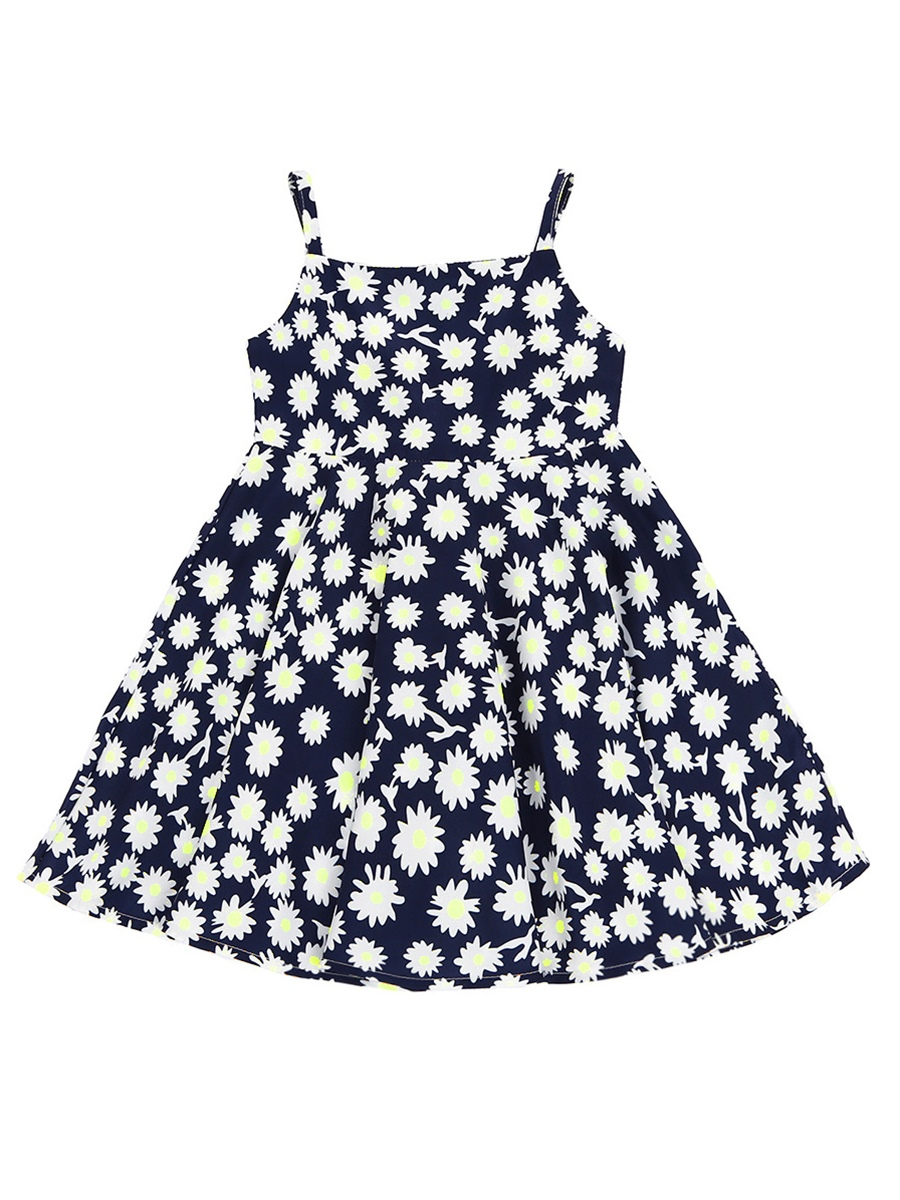 Ericdress Spaghetti Strap Designed Girl's Pleated Floral Print Sleeveless Dress