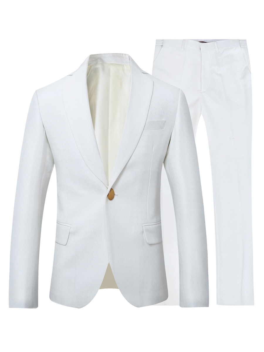 Ericdress Men's Plain One Button Blazer Pants Casual Wedding Suit