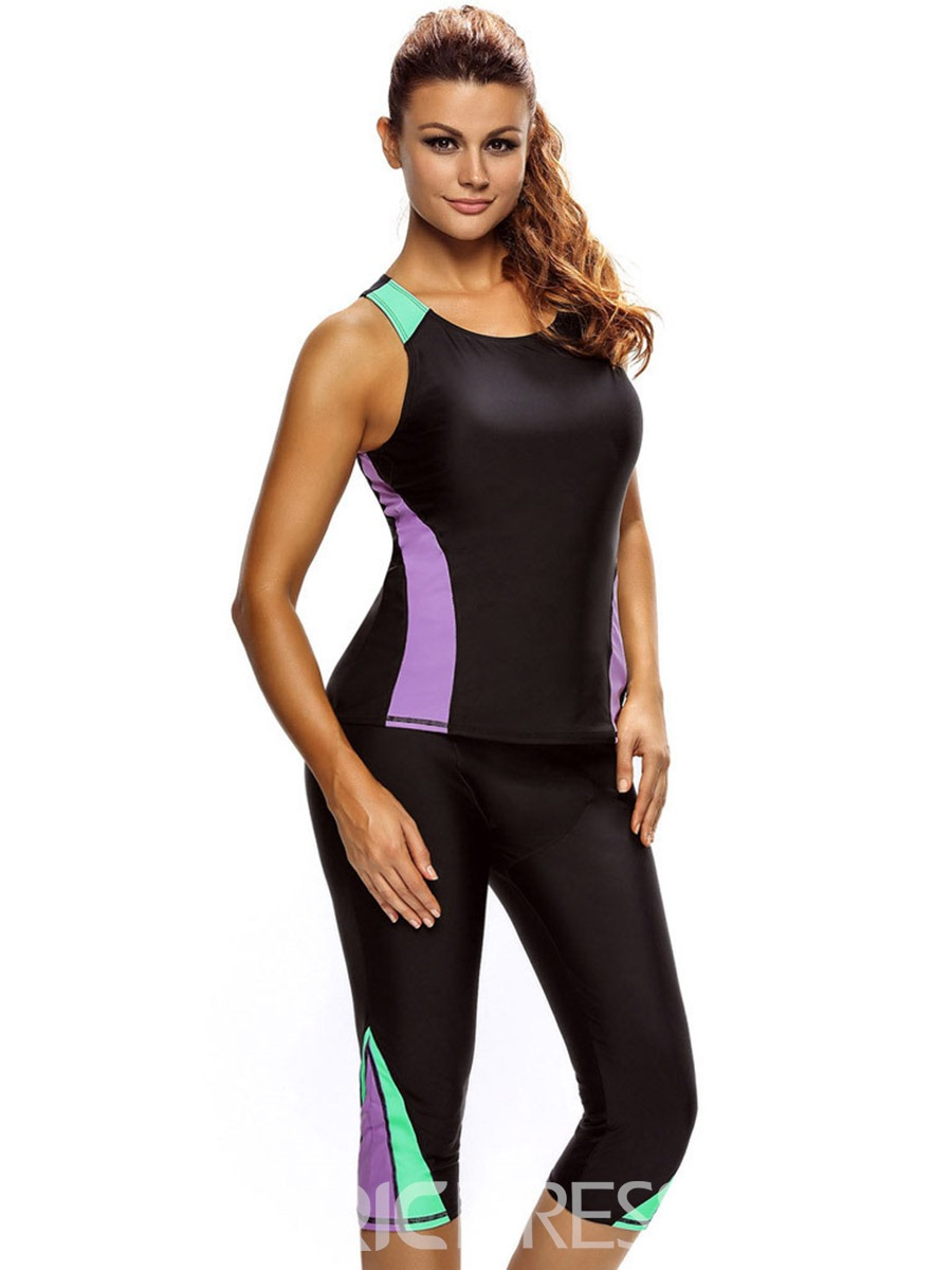 Ericdress Color Block Pants Diving Suits Tankini Swimsuits