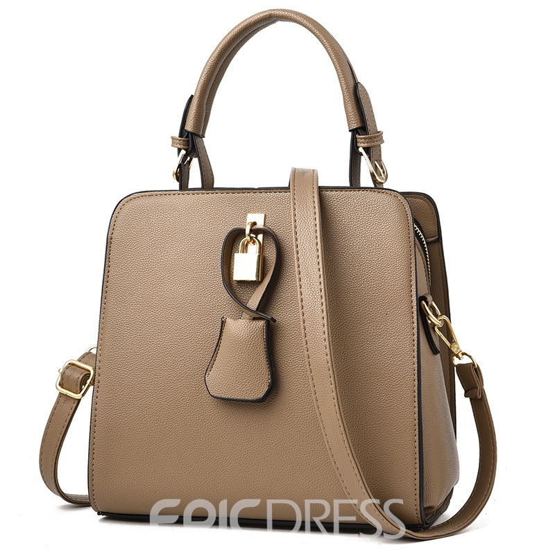 Ericdress Lock Decoration Solid Color Women Handbag
