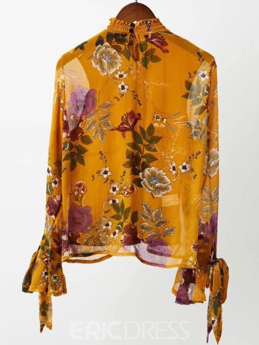 d4d4a4b83a71c1 Ericdress Floral Print Lace-Up Flare Sleeve Blouse 13223327 ...