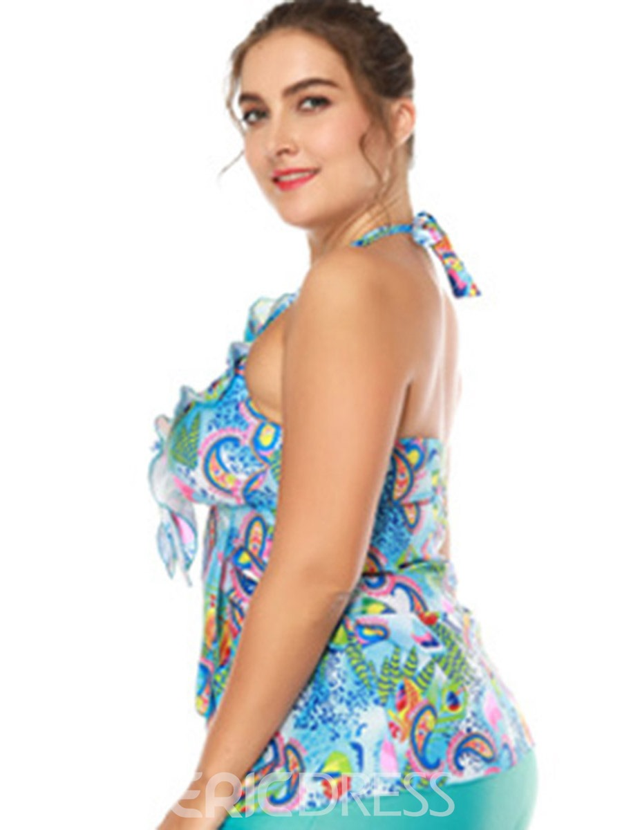 Ericdress Plus Size Halter Floral Boyshorts 2-Pcs Tankini Suits