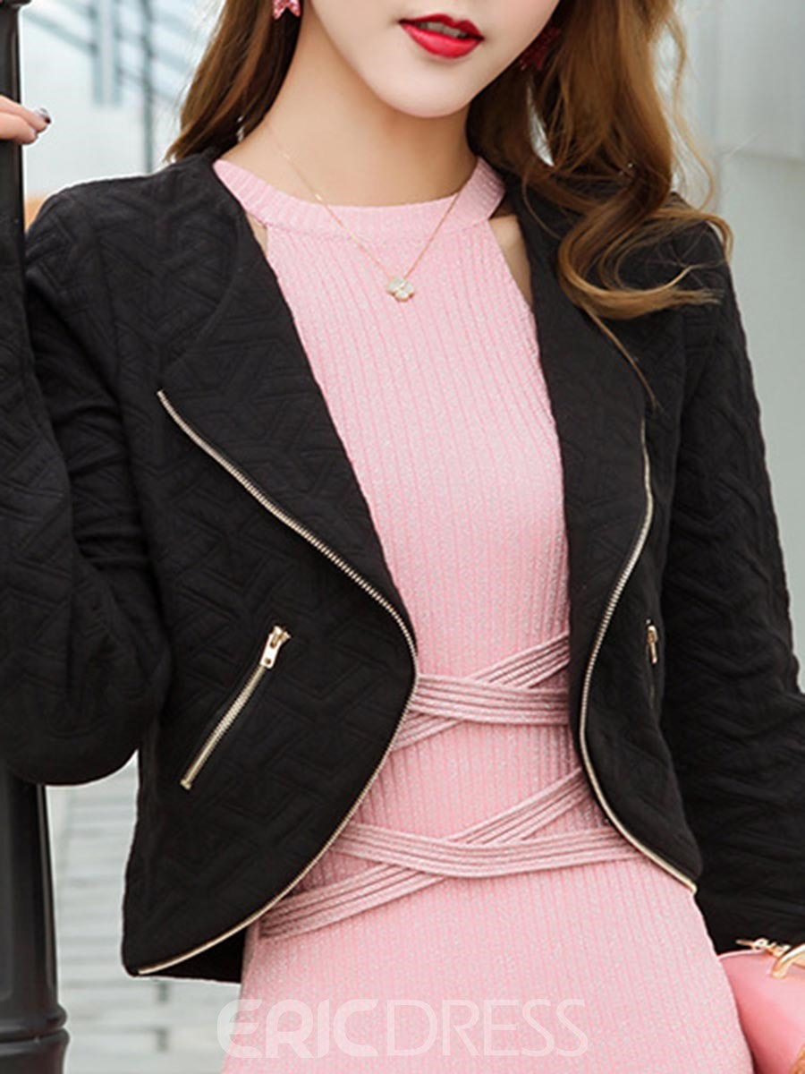 Ericdress Slim Plain Zipper Short Blazer