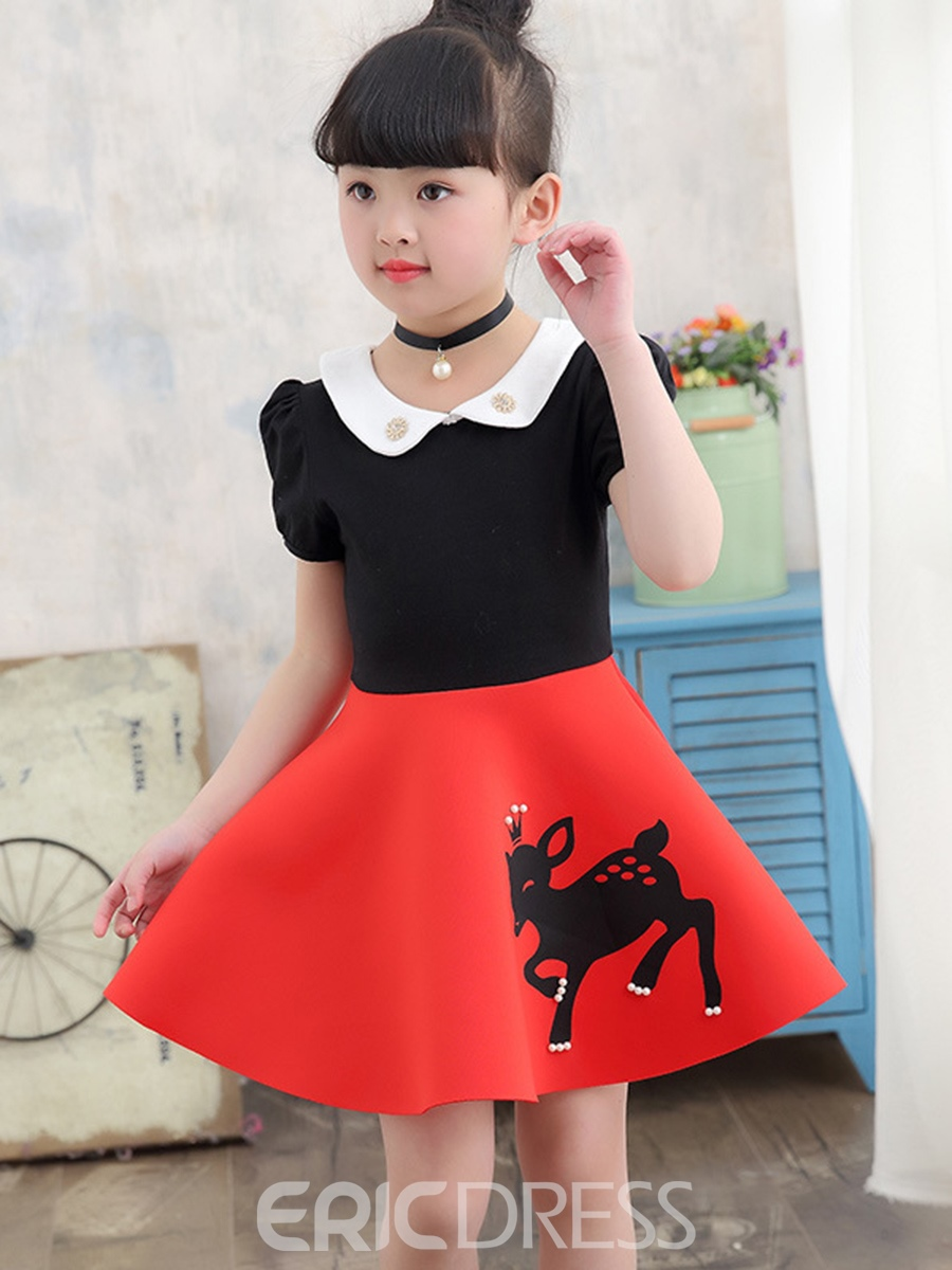 Ericdress Peter Pan Collar Beads Print Girl's Puff Sleeve Dress
