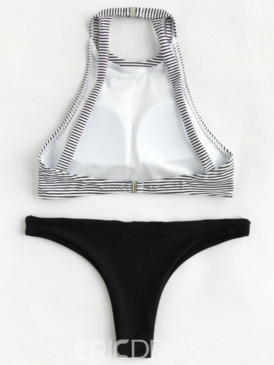 Ericdress Stripe Plain 2-Pcs Tankini Swimsuits