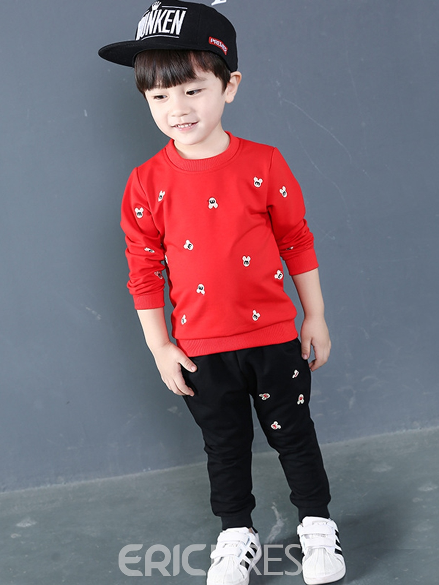 Ericdress Cartoon Printed Baby Boy's Casual Cotton Suit Hoodie Pants