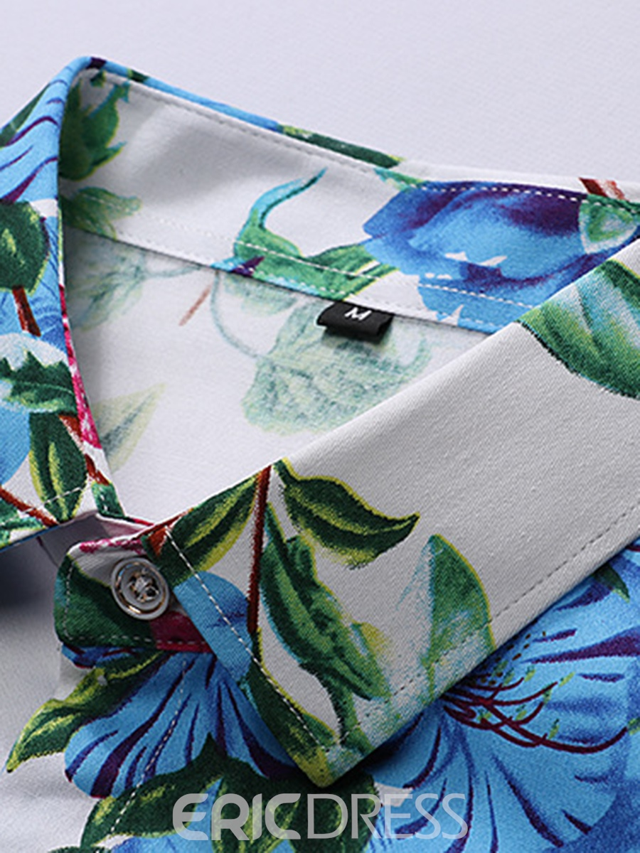 Ericdress Floral Printed Men's Lapel Short Sleeve Single Breasted Shirt