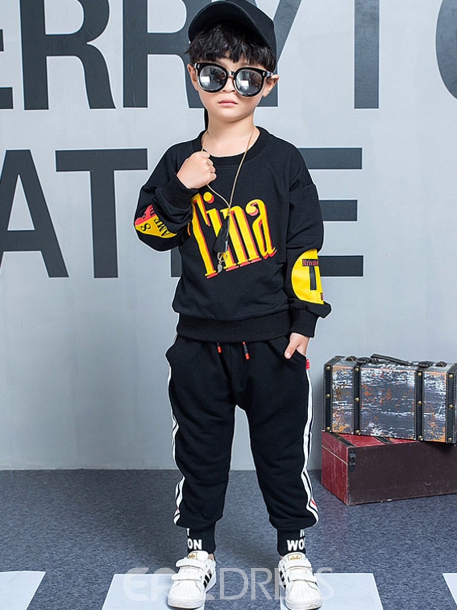 Ericdress Letter Color Block Boy's Cotton Cool Suit Hoodie Pants