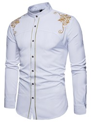 Ericdress Golden Embroidery Plain Mens Single Breasted Shirt фото