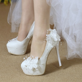 Ericdress Plain Slip-On Lace Platform Stiletto Heel Wedding Shoes