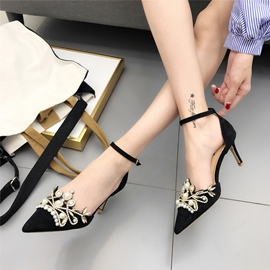 Ericdress Rhinestone Pointed Toe Stiletto Heel Pumps with Beads