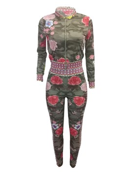 Ericdress Floral Print Jacket and Pants Women's Two Piece Set
