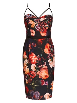 Ericdress Backless Floral Spaghetti Strap Bodycon Dress