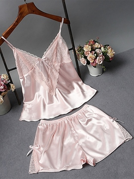 Ericdress Lace Satin Pajama Camisole Short Sets Sexy Nightwear