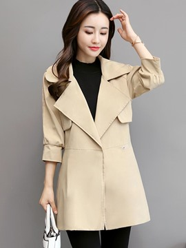 Ericdress Slim Plain Lapel Mid-Length Trench Coat