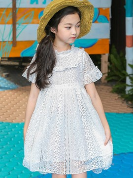 Ericdress A-Line Lace Hollow Girl's Stand Collar Short Sleeve Dress