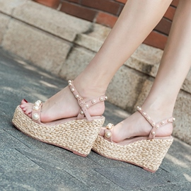 Ericdress Open Toe Platform Wedge Sandals with Beads