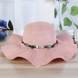 Ericdress Handmade Knitting Stone Big Sunhat for Women